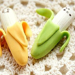 Wholesale Affordable Novelty Banana Style Pencil Eraser Rubber Stationery Kid Gift Toy Yellow Green