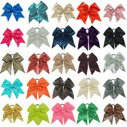 Wholesale 25 quot Fashion Handmade Sequin Bling Cheer Bows for Girl Children Kids Boutique Sequin Hair Accessories with Elastic