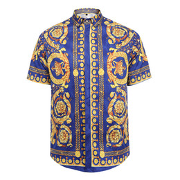 2017 new fashion Wave Of Men Floral Print Colour Mixture Luxury Casual Harajuku Shirts Short sleeve Men's Medusa Shirts
