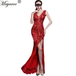 Photo réelle Elastic Sequin Mermaid Robe de soirée Side Slit Red Sequined Lace Party Sparkled Long Robes de bal robe de soirée à partir de fabricateur