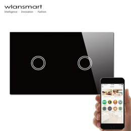 Wlansmart,smart Phone Remote 2gang Wall Touch Switch,US AU Standard,RF433MHz,control Lamps By Broadlink,White Crystal Glass