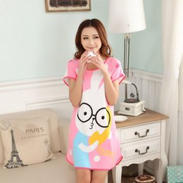 Wholesale Sexy Clothes For Women Sleep - 2016 New Summer Style Women Sleepwear Cotton Print Sexy Sleeping Dress Nightgown For Ladies Women's Home Clothes Sleepwear