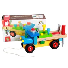 Wholesale Tamiya Brinquedos Baby Early Educational Toy Wooden Building Kit Janod Tool Disassembling Children Car Hand Diy Tractor Cartoon