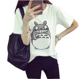2016 shirt de douille d'impression des animaux gros Wholesale-2016 Anime japonais Totoro T-shirt Femmes Summer Printed Tee O-cou Lovely Short-Sleeve Tee-shirts Livraison Gratuite shirt de douille d'impression des animaux gros autorisation
