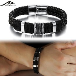 MULILAI new handmade stainless steel inverted magnetic buckle fashion spiral pattern retro leather bracelet