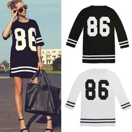 Canada Hot Summer Women Celebrity 86 American Baseball Tee Surdimensionné à manches courtes Robe Casual Casual Vestidos Femmes Offre