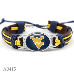 Wholesale New Fashion West Virginia Mountaineers Adjustable Leather Cuff Bracelet for Athletic Team Mens Sports Wristband Jewelry