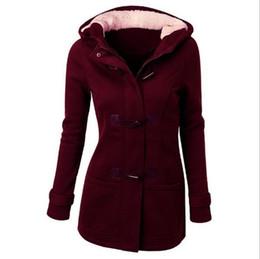 Wholesale Women Trench Coat Spring Autumn Women s Overcoat Female Long Hooded Coat Zipper Horn Button Outwear jackets