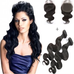 8A Cheap Brazilian Body Wave Hair Bundles with 4*4 Lace Closure 8-26 Double Weft Human Hair Extensions With Body Wave Closure Free Shipping