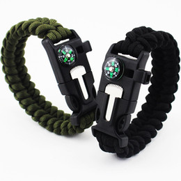 Hot Outdoor Bracelet Survival Escape Life-saving Bracelet Paracord Hand Made With Plastic Buckle Umbrella rope bracelets Camping compass bra