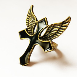 American jewelry fashion retro cross black wings drop glaze adjustable ring punk boy