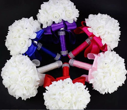 2020 Cheap Rose Artificial Bridal Flowers Bride Bouquets Wedding Bouquet Crystal Royal Blue Silk Ribbon New Buque De Noiva For Weddings 817