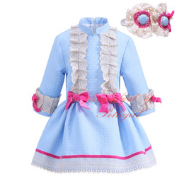 Wholesale Pettigirl New Autumn Girl Blue Dress Long Sleeve With Bowknots and Lace Headband Casual Boutique Children Wear G DMGD908