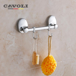 Kitchen Cloth Robe Hook Wall Mounted Stainless Steel 2 Row Hooks Wall Hat Bathroom Towel Shelf Brand Bathroom Accessories Cavoli 73217-2