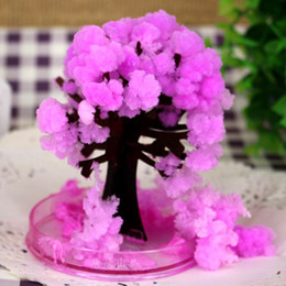iWish 2017 Japanese Artificial Magic Grow Sakura Paper Trees Magical Christmas Growing Tree Desktop Cherry Blossom Toys For Children 100PCS