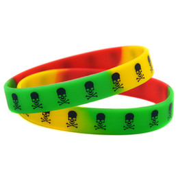 Wholesale 100PCS Lot Printed Logo The Skull Wristband Silicon Bracelet Hip Hop Band Punk Style Adult Size Rainbow Colour