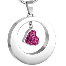 IJD8251 Circle of Life Keepsake CREMATION NECKLACE for Women 316L Stainless Steel Pink Heart in Round Pendant Ashes Holder Memorial Jewelry