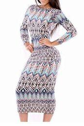 Племенные печатные издания для продажи-2016 Новая мода с длинным рукавом Племенной печати платье Scoop Назад Midi Женщины-футляр Платья Повседневные удобная одежда