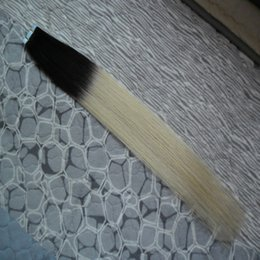 Tape in human hair extensions 40pcs Black Two Tone Blonde Ombre Brazilian Hair Traight Double Sided Tape In Hair Extensions Ombre