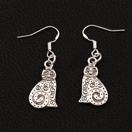 Dots Swirl Cat Earrings 925 Silver Fish Ear Hook 30pairs lot Dangle Jewelry E1158 12x36 mm