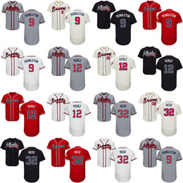 Men's Women's Kid's Youth Atlanta Braves 12 Eddie Pérez 9 Terry Pendleton 32 Marty Reed Gray Ivory Navy Scarlet White Best Baseball Jerseys