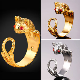 U7 Hot Fashion Cat Cocktail Rings Red Cubic Zirconia Eyes Gold Plated Chic Kitty Cuff Bands Ring Women Men Party Gift Bague Anillos