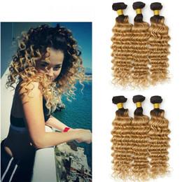 8A Deep Wave Ombre 1B 27 Honey Blonde Hair 3 Bundles Dark Roots Honey Blonde Brazilian Hair Weaves 300G Lot
