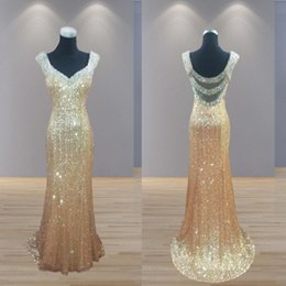 2017 Sheer Gold Sequin Evening Wear Dresses Long Sexy V-Neck Backless Mermaid Prom Dresses Crystal Special Occasion Party Formal Gowns