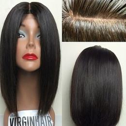 Descuento cordón lleno recta superior de seda Silk Top brasileña pelo humano lleno de pelucas 8A sin procesar Straight Virgen de pelo de seda basado corto Bob encaje frente pelucas para las mujeres negras