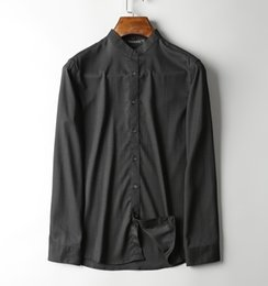 Chinese Stand collar ~ luxury Tianzhu bamboo fiber fabric, iron-free supple, stand collar long-sleeved business casual shirt men