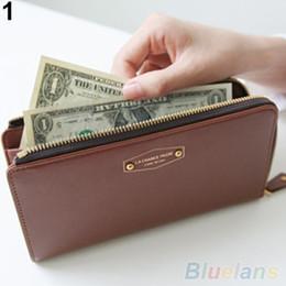 Venta al por mayor-Mujer monedero tarjeta de teléfono titular de embrague monedero falso cuero Zip largo bolso monedero 1UCB desde monedero de cuero de imitación al por mayor fabricantes