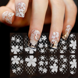 Wholesale Nail Sticker Blanc Decal eau noir Sexy Lace fleur pour DIY conseils ongles Styling Tools Nail Décorations