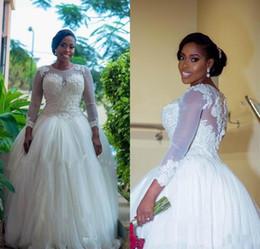 Plus Size Long Sleeve Lace African Wedding Dresses Elegant Beaded Applique Bridal Dress Puffy Arabic Wedding Gowns Custom Vestidos de novia