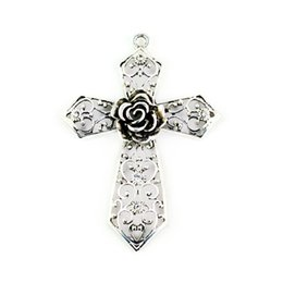 Vintahe silver plated Jewelry pendant cross hollow-out rose flower DIY jewelry accessories - Cross Pendant Scarf Making Charms, PT-334