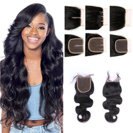 8A Brazilian Human Hair Closure Lace Closure Body Wave Front 4x4 Middle Free Three Part Bleached Knots Top Closure Free Shipping