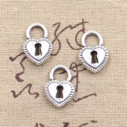 Wholesale Charms padlock heart key mm Antique pendant fit Vintage Tibetan Silver DIY for bracelet necklace