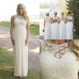 Canada 2017 Printemps Printemps Pas cher Taille Plus Style Country Robes de demoiselle d'honneur Lace Haut Haute taille de maternité en mousseline de soie Long Beach Garden Dresses supplier plus size lace dresses tops Offre