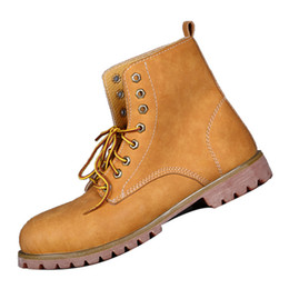 Wholesale Style Leather Mens Boot - British Style Mens Martin Boots Yellow Cowskin Genuine Leather Shoes Waterproof Outdoor Shoes for Spring and Fall 081120