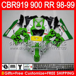 Body For HONDA CBR 919RR CBR900RR CBR919RR 98 99 CBR 900RR Green white 68HM13 CBR919 RR CBR900 RR CBR 919 RR 1998 1999 Fairing kit 8Gifts