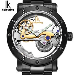 dessus de bracelet Promotion IK 2017 New Skeleton Automatique Montres mécaniques Coloriage Hollow Mens Top Marque Luxury Business Full Steel Winner Montre Montre Horloge