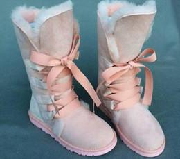 Longue en cuir femmes boot en Ligne-Bottes de neige de mode haute neige Bottes de femme 100% véritable en peau de mouton en lacet jusqu'à bottes longues bottes d'hiver en laine naturelle chaude