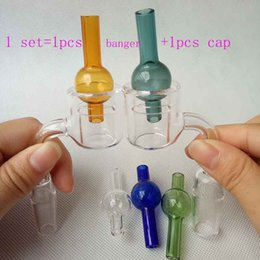 Set XXL Quartz Thermal Banger With colorful Bubble carb cap 10 14 18mm Double Tube Quartz Nails Tips PukinBeagle thermal P Banger glass bong