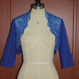 Exquisite Royal Blue Wedding Jackets Real Pictures Custom Colors Beaded Lace Appliques Evening Party Boleros Half Sleeves