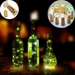 Promotion verre bouchons de vin 2pcs / lot 2M 20LED lampe bouchon en forme de bouteille bouchon en verre léger en verre LED d'éclairage fil de fer pour Noël Party Supplies Wedding