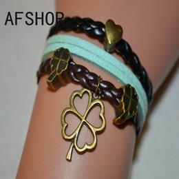 Turquoise Braided Black Blue Leather Suede Wax Cord Heart Clover Pendant Charm Bracelet Bangles Metal Women Men Alloy Design Costume Jewelry