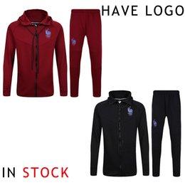 Wholesale 2017 Soccer Jacket France Tracksuit Jogging Football Hoodie Training Suit Men Adults Football Track Suit survetement Maillot de Foot