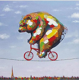Skilful Bear,genuine Hand Painted Wall Decor Cartoon Animal Art Oil Painting On Thick Canvas Multi Size,A-MEI
