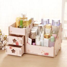 Almacenamiento de maquillaje de madera en Línea-Caja de madera del organizador de la asamblea de DIY de la caja hecha a mano del organizador del maquillaje del envase de la joyería de la caja de almacenaje envío libre