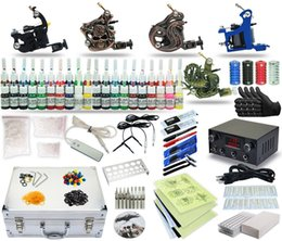 Wholesale Complete Tattoo Kit machine Gun Power Supply TK Color Inks black case