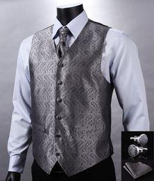 2017 boutons de manchette de smoking Wholesale- VE01 Gris Argent Paisley Top Design Hommes de mariage 100% Gilet Silk Vest Poche Square Cufflinks Cravat Set pour Suit Tuxedo boutons de manchette de smoking à vendre